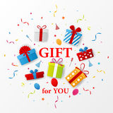 Birthday gift celebration with red ribbon Stock Image