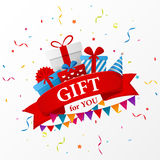 Birthday gift celebration with red ribbon Stock Photo