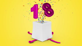 Birthday gift exploding with confetti and balloon eighteen against yellow background stock video footage