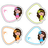 Birthday gift tags with cute hawaiian girls on colorful frames vector illustration
