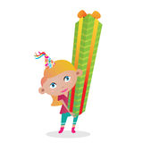 Birthday gift. Vector illustration of a young cartoon girl holding a big gift Stock Photo