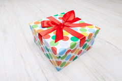 Birthday Gift. On wooden background Royalty Free Stock Images