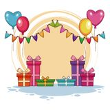 Birthday Gifts and balloons. Vector illustration graphic design Stock Image