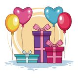 Birthday Gifts and balloons. Vector illustration graphic design Royalty Free Stock Photo