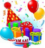Birthday gifts and decoration Royalty Free Stock Photo