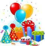 Birthday gifts and decoration royalty free illustration