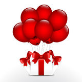 Birthday gifts with red balloons.  stock illustration