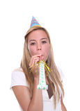 Birthday Girl. A pretty birthday girl celebrating at a party stock photography