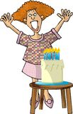 Birthday Girl. This illustration that I created depicts a happy looking girl standing in back of a birthday cake Royalty Free Stock Photos