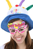 Birthday Girl. A pretty, and young birthday girl with colorful accessories royalty free stock photography