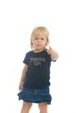 Birthday Girl. Adorable little blond girl in birthday girl t shirt Stock Images