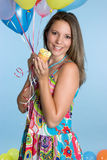 Birthday Girl. Happy birthday cupcake balloon girl royalty free stock images