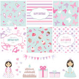 Birthday and girl baby shower design elements. Birthday party and girl baby shower design elements set. Templates, stickers, seamless patterns Royalty Free Stock Images