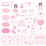 Birthday and girl baby shower design elements set. Birthday party and girl baby shower design elements set. Girly stickers Royalty Free Stock Photo