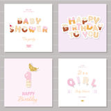 Birthday and girl baby shower invitation cards set. Sweet and balloon letters. Vector vector illustration