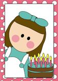 Birthday girl and cake. An illustration or cartoon with a pink border of a young girl and a birthday cake with candles Stock Photos