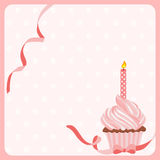 Birthday girl cake background with one candle Royalty Free Stock Image