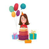 Birthday Girl Cake Composition. Kids birthday composition with smiling teenage girl character colorful festive balloons gift boxes and sweet cake vector Royalty Free Stock Photo