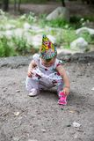 Birthday girl child year-old in park at summer Royalty Free Stock Photos