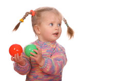 Birthday of  girl with colored ball. Royalty Free Stock Image