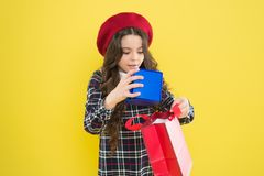 Birthday girl. Favorite brands hottest trends. Girl with shopping bag. Explore fashion industry. Shopping and purchase. Black friday. Sale discount. Shopping stock photos