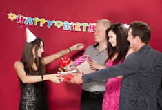 Birthday girl with friends Royalty Free Stock Image