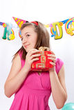 Birthday girl and gifts Royalty Free Stock Image