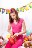 Birthday girl and gifts Royalty Free Stock Photography