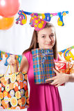 Birthday girl and gifts Stock Images