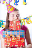 Birthday girl and gifts Stock Photos