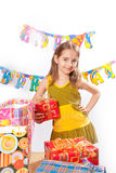 Birthday girl and gifts Royalty Free Stock Photo