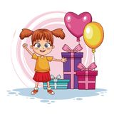 Birthday girl with gifts and balloons. Vector illustration graphic design Stock Photography