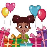 Birthday girl with gifts and balloons. Vector illustration graphic design Stock Photo