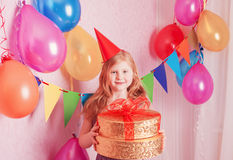Birthday girl and gifts Royalty Free Stock Photos