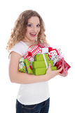 Birthday girl with gifts - woman isolated on white background Royalty Free Stock Images