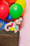 Birthday girl. Birthday one year old girl with balloons royalty free stock photo