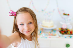 Birthday girl at party Royalty Free Stock Photography