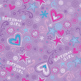 Birthday Girl Sketchy Doodles Seamless Pattern Stock Image