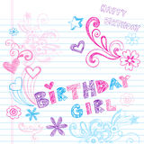 Birthday Girl Sketchy Notebook Doodles Vector. Happy Birthday Doodle- Birthday Girl Lettering Sketchy Back to School Hand-Drawn Notebook Doodles Vector Royalty Free Stock Photo