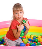 Birthday girl in sport shirt with game ball. Stock Photo