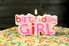 Birthday girl - sweet homemade cake and candle Stock Photos