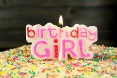 Birthday girl - sweet homemade cake and candle Stock Photos