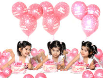 Birthday girl2. Three different poses of a two year old with birthday cake and ballons Royalty Free Stock Photo