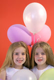 Birthday girls with balloons Royalty Free Stock Photo