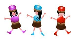 Birthday girls. Sweet girl with birthday cake stock illustration