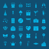 Birthday Glyphs Website Icons. Vector Set of Party Celebration Symbols Royalty Free Stock Image