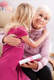 Birthday grandma hug Stock Photography