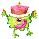 A birthday of a green monster. Illustration of a birthday of a green monster on a white background Royalty Free Stock Photography