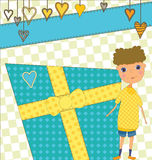 Birthday Greeting with Boy and Gift Royalty Free Stock Images