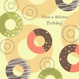 Birthday greeting card. A birthday card design with colored decorated circles on a cream background Stock Photography